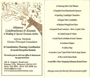 My consulting business card. I added fine rentals information to the back in 2004.