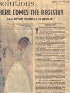 KC Star - HERE COMES THE REGISTRY, 6-7-2003