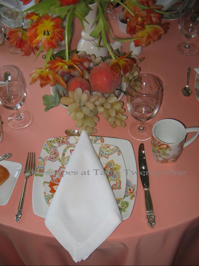 Tablescapes at Table Twenty-One - Peachy Keen Breakfast