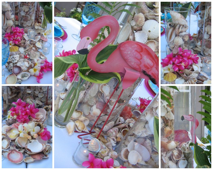 Flamingo and seashell collage