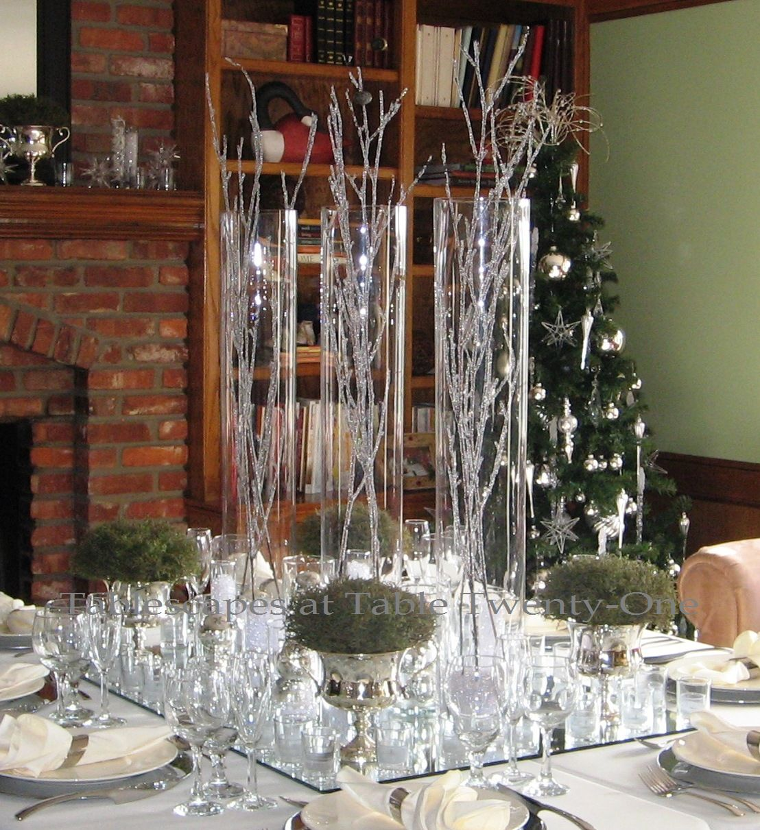 Contemporary Christmas Tablescape Fire Ice