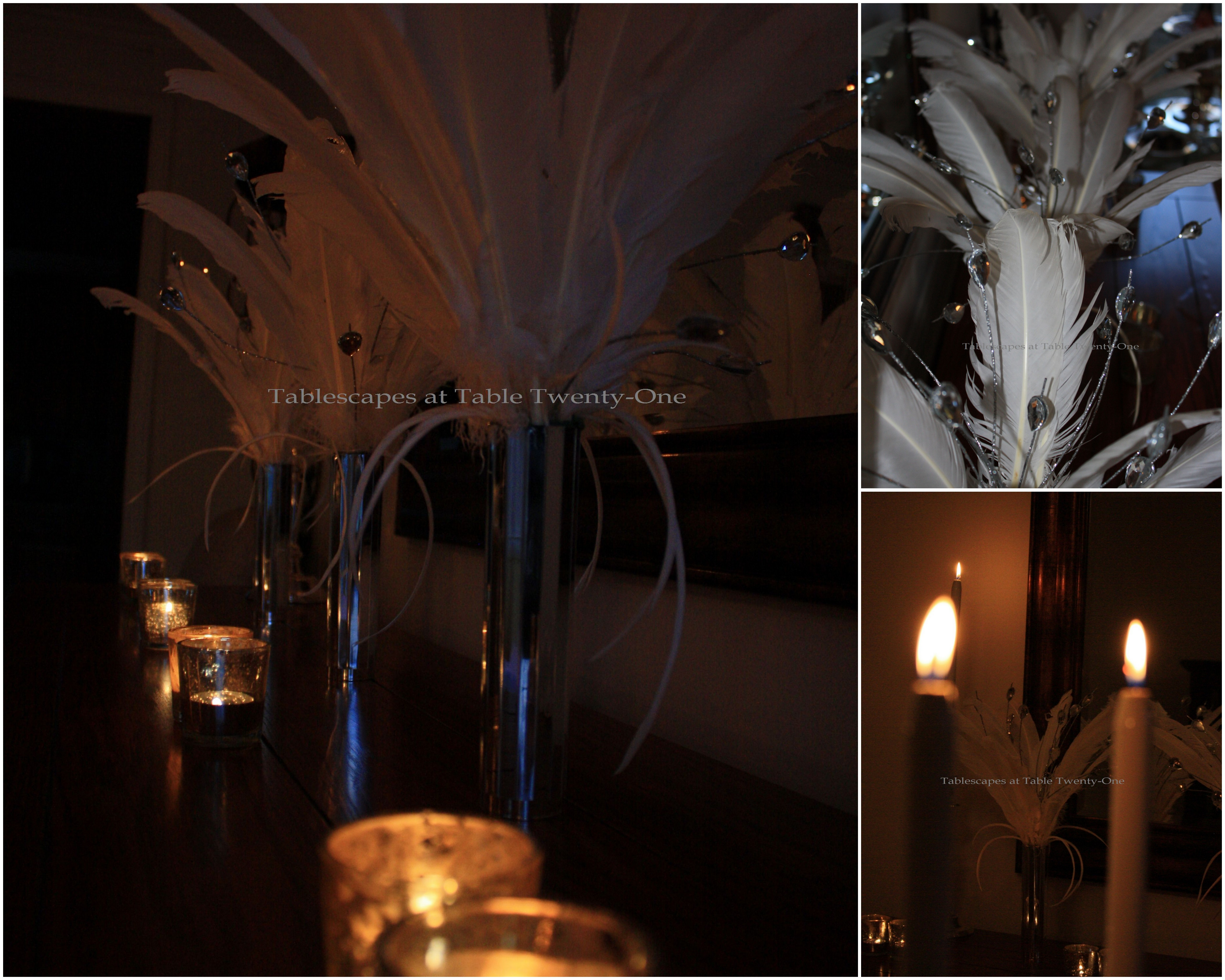 Buffet feathers & candle collage