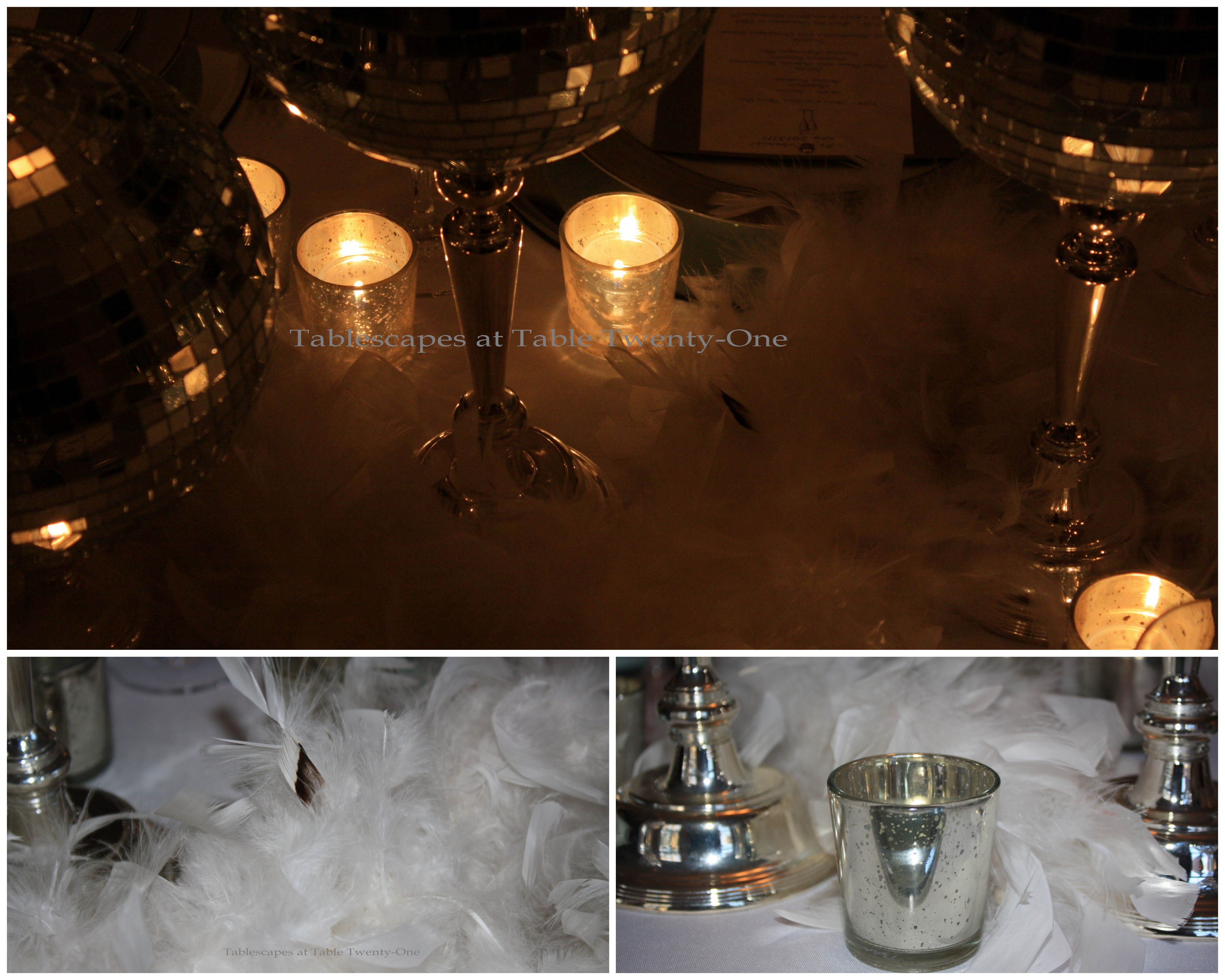 Feather boa & votive candle collage