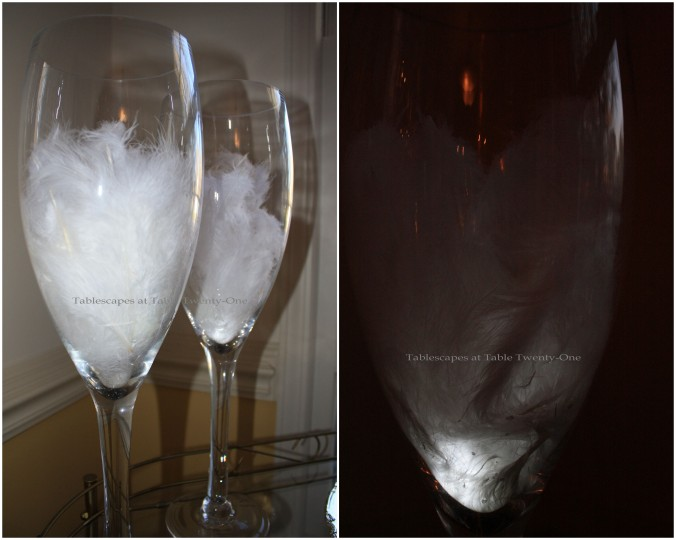 Feathers in champagne glasses collage