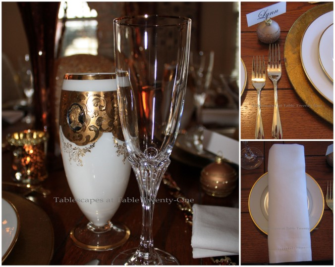 Flatware, Stemware, Napkin collage