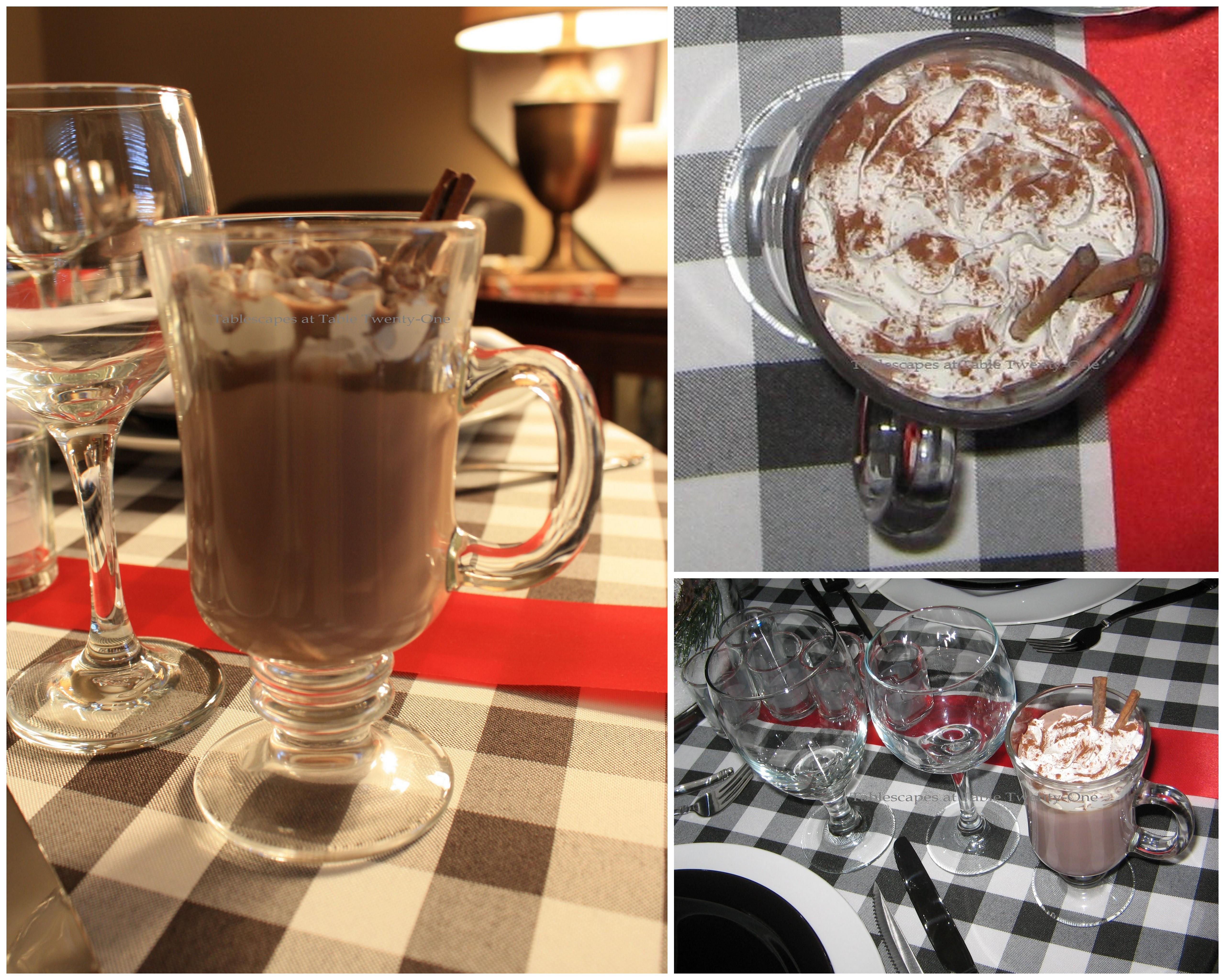 Hot chocolate & stemware collage