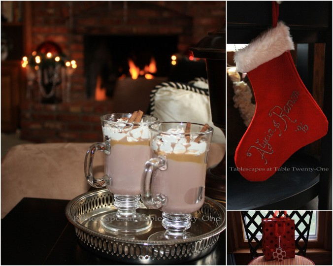 Hot chocolate, Stocking, Chair gift collage