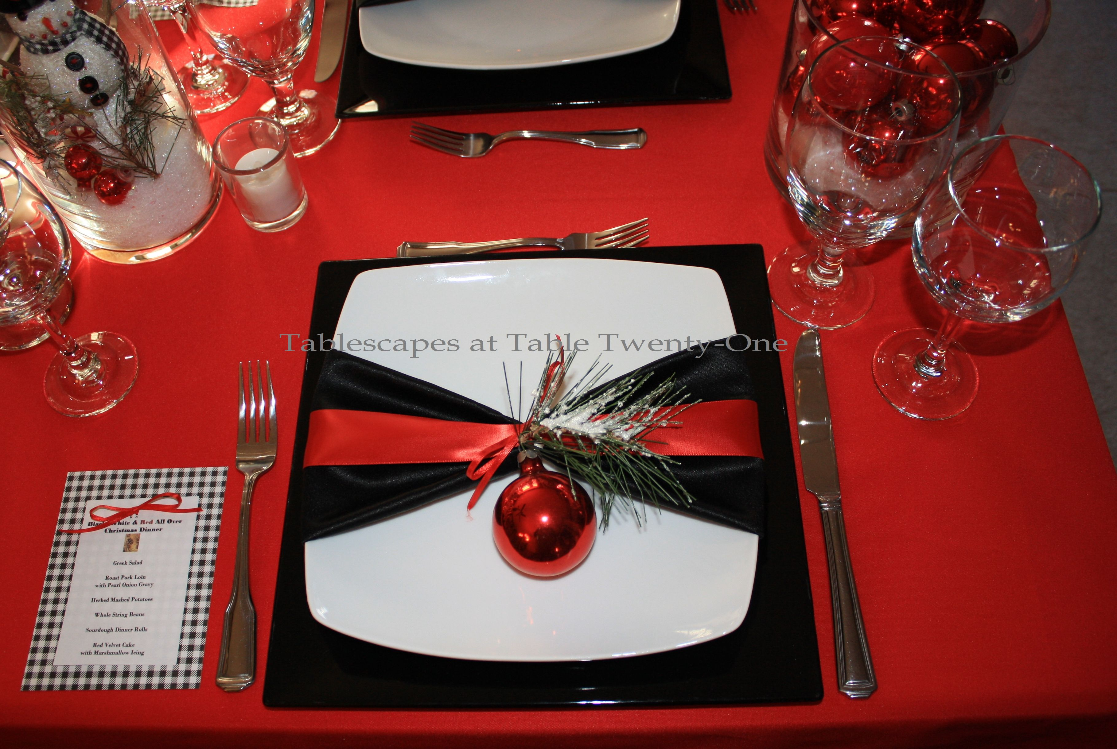 Tablescapes at table twenty one black white red all for Black and white tablescape ideas