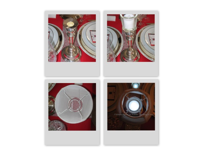 Clockwise: (1) Silver Revere candlestick; (2) candlestick topped with peg votive; (3) LED votive glows safely, and; (4) white silk lampshade made for fitting over peg votives