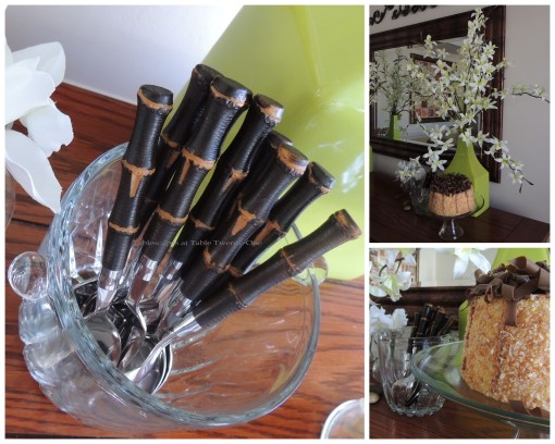 Buffet cake, flatware, lg. floral collage
