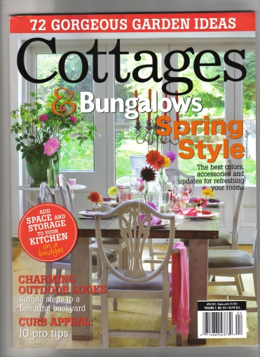Cottages & Bungalows Magazine spread, April 2013 issue, front cover