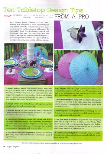 Cottages & Bungalows Magazine spread, April 2013 issue, pg. 84