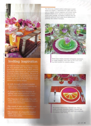 Cottages & Bungalows Magazine spread, April 2013 issue, pg. 85