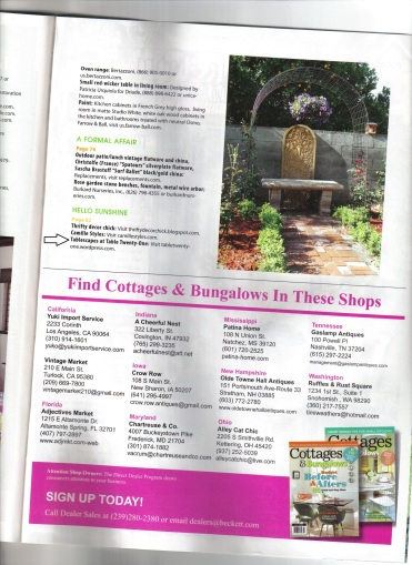 Cottages & Bungalows Magazine spread, April 2013 issue, Resources pg. 97