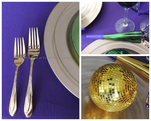 Flatware, gold disco ball, green horn collage