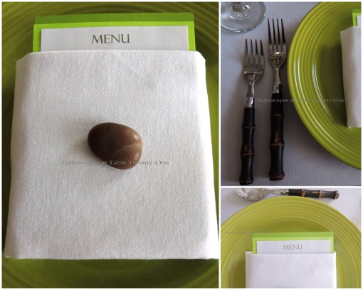 Flatware, napkin, menu collage