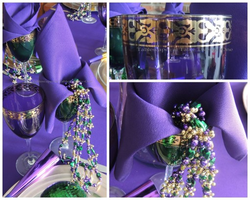 Stemware, napkin, beads collage