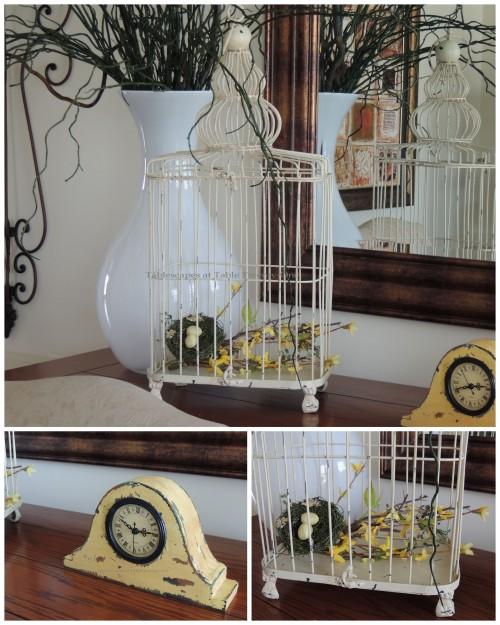 Birdcage & clock collage
