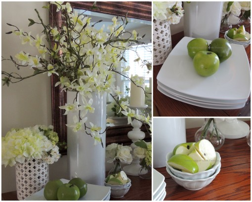 Buffet apple and orchid floral collage