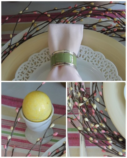 Egg cup, napkin, beaded wreath collage