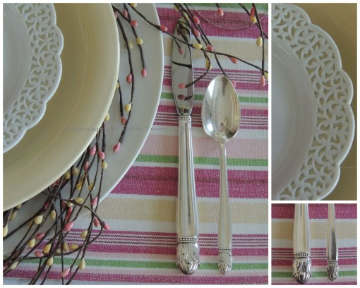 Flatware, rim shot, lace plate collage