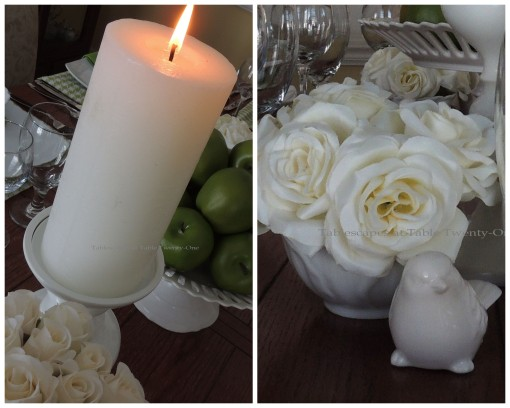 Lit candle, short floral collage