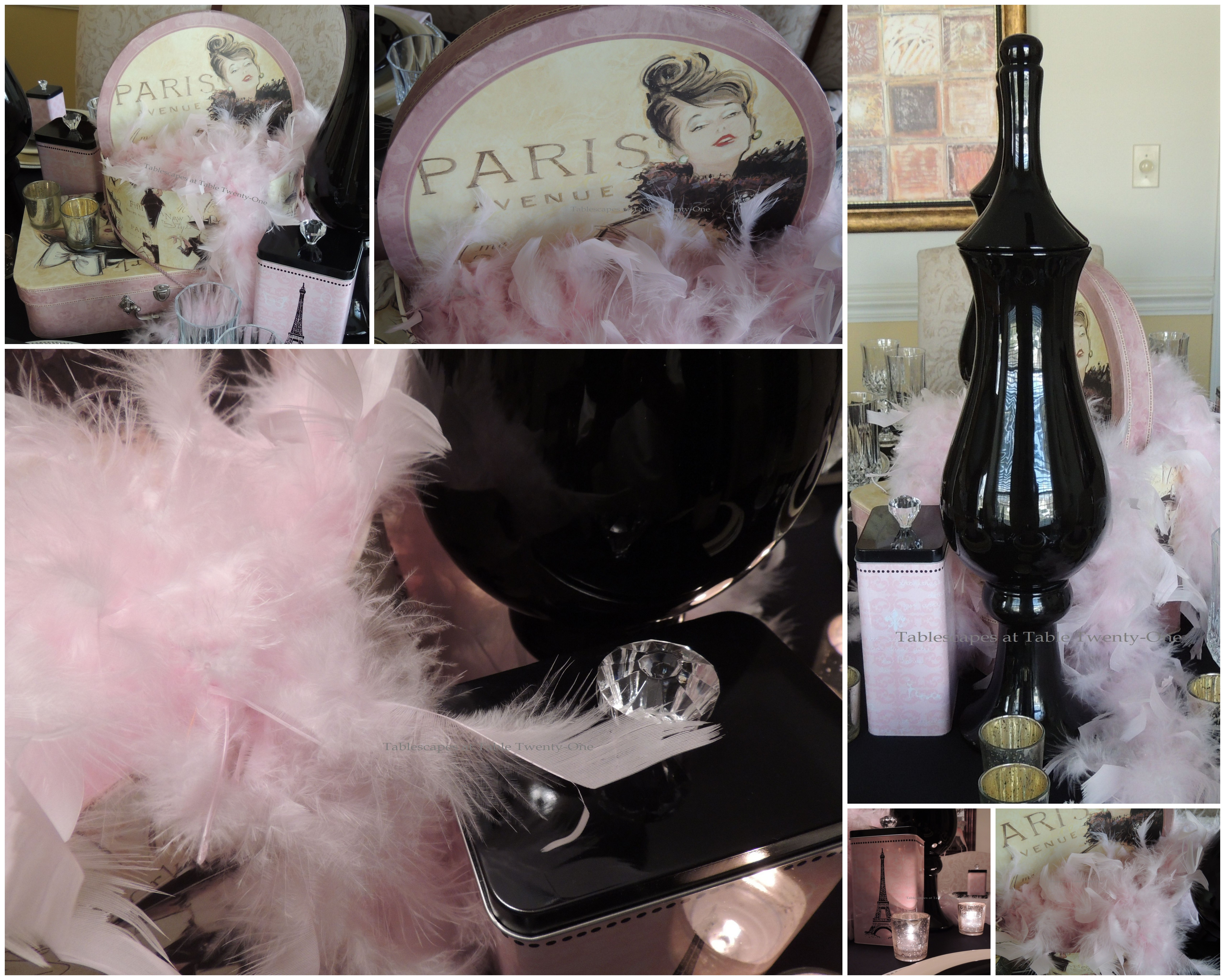 Pink boa hat box centerpiece collage tablescapes at