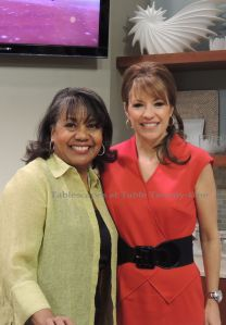 On the set after the show with co-host Lisa Holbrook