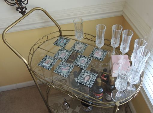 Tea cart with damask coasters from Beau-Coup.com - Tablescapes at Table Twenty-One