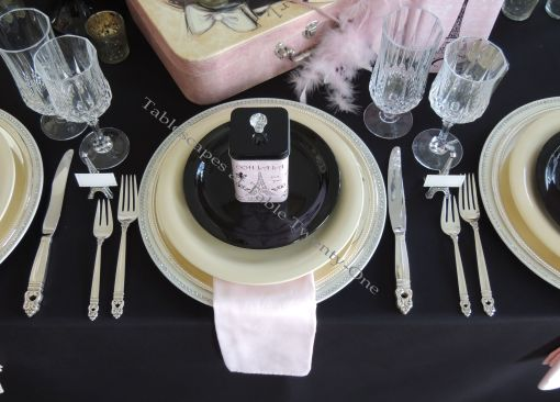 French Poodle table setting in pink, black & white - Tablescapes at Table Twenty-One