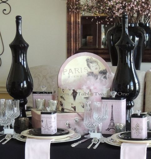 French Poodle hat box centerpiece - Tablescapes at Table Twenty-One