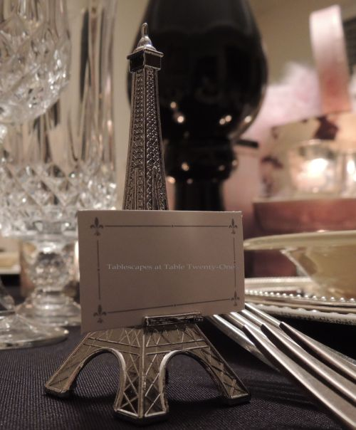 Eiffel Tower place card holder on French Poodle tablescape - Tablescapes at Table Twenty-One