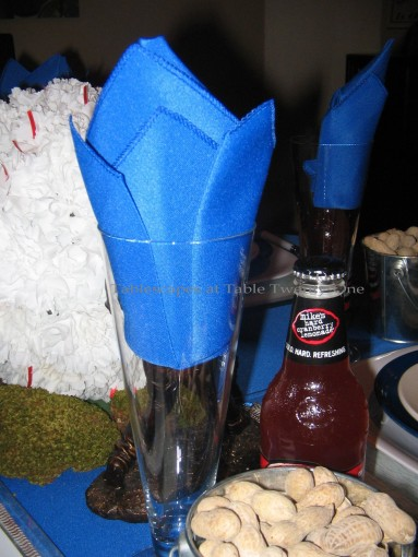 """Boys of Summer"", crown fold napkin for Kansas City Royals - Tablescapes at Table Twenty-One"