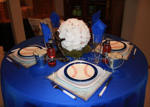 Boys of Summer baseball tablescape tabletop - Tablescapes at Table Twenty-One