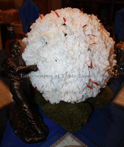 """White carnation """"baseball"""" for Boys of Summer tablescape - Tablescapes at Table Twenty-One"""