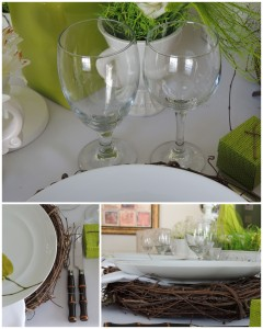 Flatware, stemware, charger collage