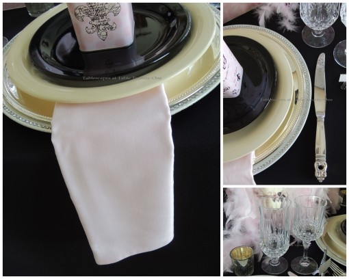 Flatware, stemware, napkin, rim shot collage for French Poodle tablescape - Tablescapes at Table Twenty-One