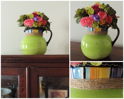 Flowers on china cabinet collage