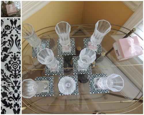Flute, box, coaster design collage