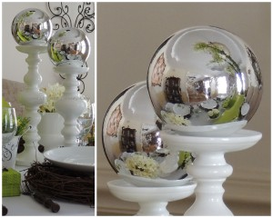 Mercury ball on candlestick collage