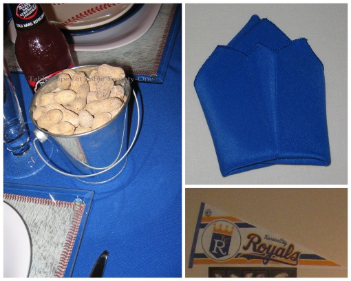 Napkin fold, peanut bucket, penant collage