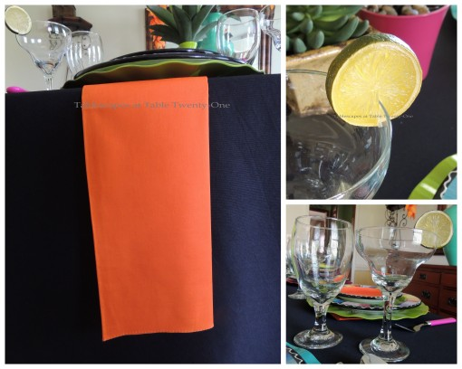 Napkin, stemware, lime collage