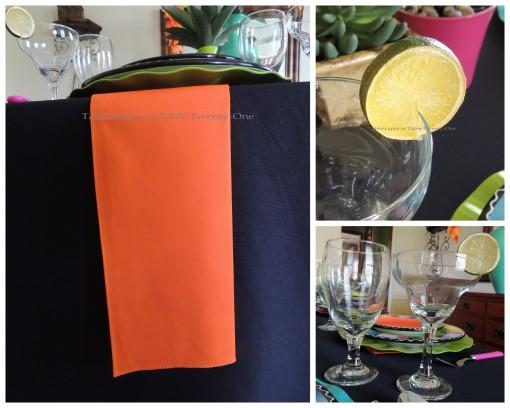 Napkin, stemware, lime collage