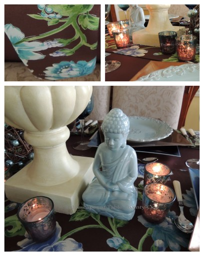 Tablescapes at Table Twenty-One: Float Like a Butterfly - Buddha, Votive, napkin pattern collage