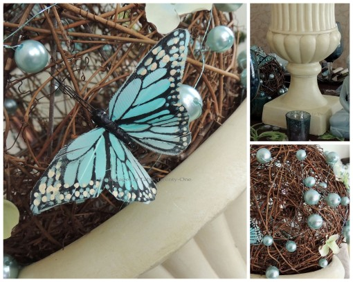 Tablescapes at Table Twenty-One: Float Like a Butterfly - Butterfly, Beading, Urn collage