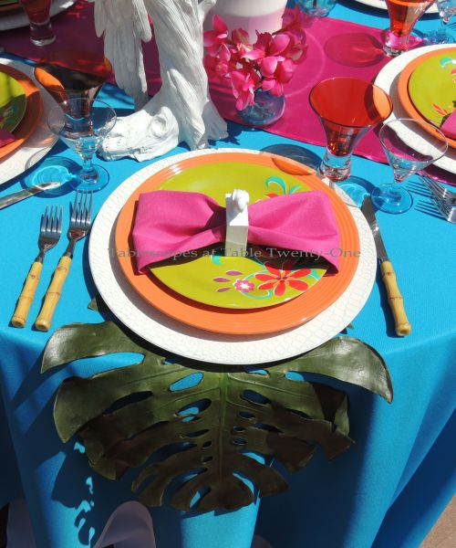 Tablescapes at Table Twenty-One - Place setting for tropical-themed tablescape