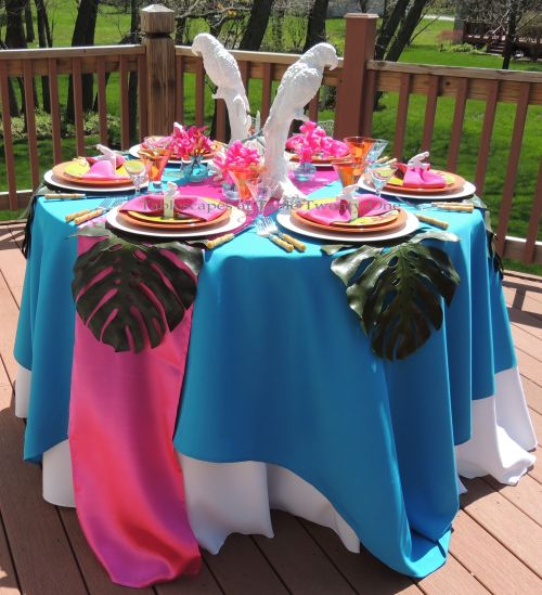 Tablescapes at Table Twenty-One: Medium budget tropical-themed tablescape