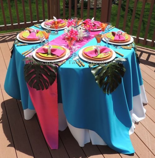 Tablescapes at Table Twenty-One - Budget-friendly tropical theme tablescape