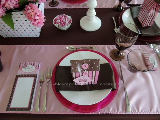 It's All About Me! – Tablescapes at Table Twenty-One: Single place setting in pink, brown & white