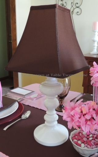 "It's All About Me! – Tablescapes at Table Twenty-One: Table ""lamp"" made with candlestick and lamp shade"